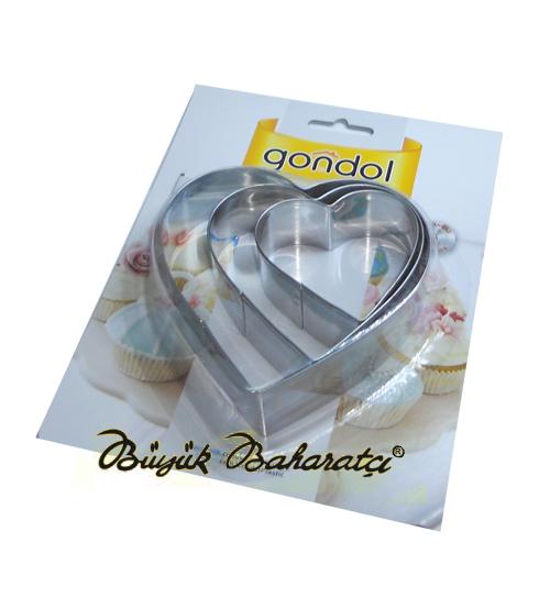 Metal Pasta Kalıbı 3'lü Kalp Figürü